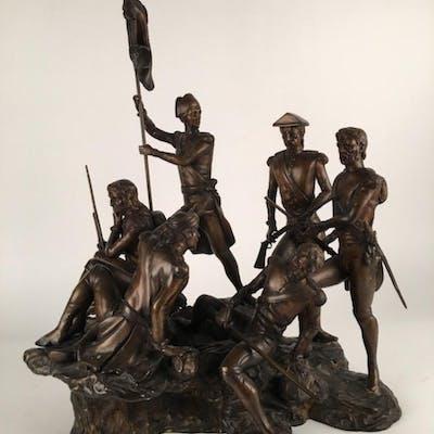 Bronze figure of six soliders.