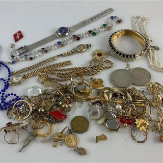 ASSORTED SCRAP JEWELRY AND TWO SILVER DOLLARS
