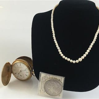 ONE SILVER COIN,  ONE POCKET WATCH & ONE PEARL NECKLACE
