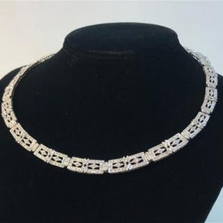 "14K WHITE GOLD NECKLACE ~ 18"" OPENWORK ART DECO STYLE RECTANGULAR"
