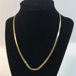 14KT GOLD NECKLACE ~ YELLOW GOLD ITALIAN MADE HERRINGBONE CHAIN, 18""