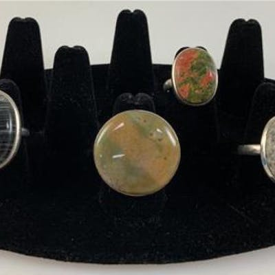 STERLING AND SEMI-PRECIOUS STONE RINGS