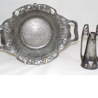 Arts & Crafts Pewter Dish and Vase. Early 1900s