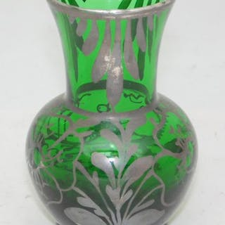 Venetian Silver Overlay Emerald Green Glass Vase