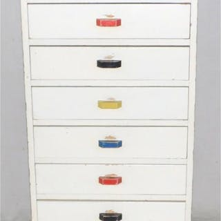 Art Deco Painted Pine 8 Drawer Chest.