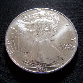 1991 AMERICAN SILVER EAGLE DOLLAR GREAT DETAILS Current Sales