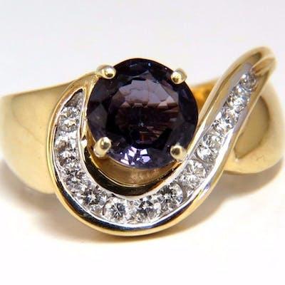 2.66ct Natural Vivid Purple Spinel Diamonds Swirl Ring