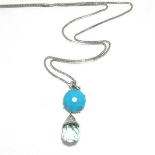 An 18ct Topaz, Turquoise & Diamond Necklace