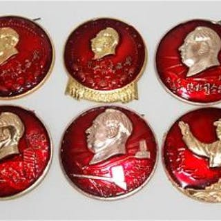 Ten Chairman Mao Badges from the Cultural Revolution, 1966-1