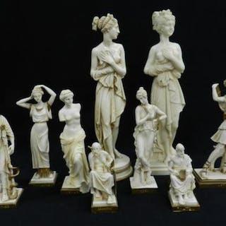 Eight Grecian Resin Figures including Venus & Aptemis