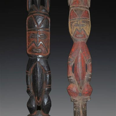 Two Old Yam Digging Sticks Finials, Abelam, PNG, early 20th