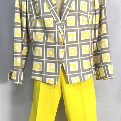 A Metro Style Yellow Geometric PatternedJacket & A Pair of A