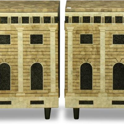 Pair of Piero Fornasetti style eggshell and lacquer cabinets
