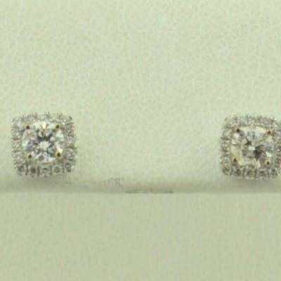 14kt white gold diamond halo stud earrings