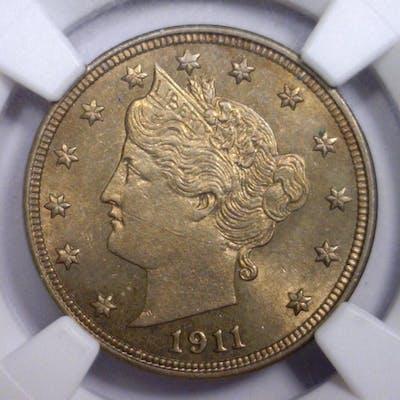 1911 Liberty V Nickel Color Toned NGC MS62