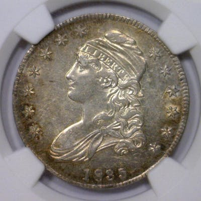1835 Capped Bust Silver Half NGC AU55