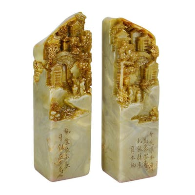 A Pair of Shoushan Stone Seal Carvings with Figural Pavilion Scene