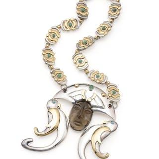 A Sergio Gomez silver and gem-set pendant necklace