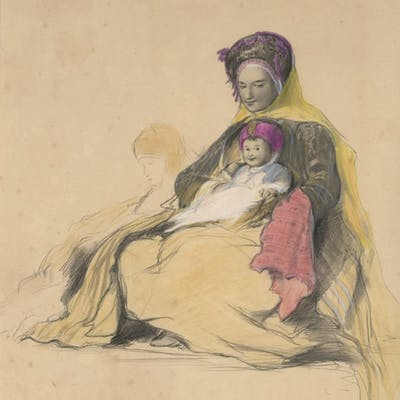 Hebrew Woman and Child, Color Lithograph by David Wilkie, 18