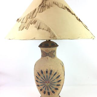J john native american sand painted table lamp current sales native american sand painted table lamp closed auction aloadofball Image collections
