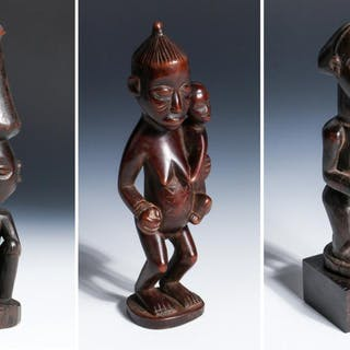 Three African Carved Wood Statues