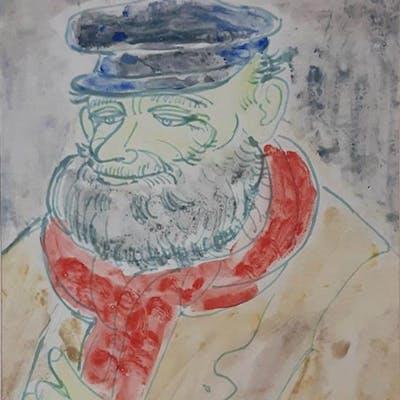 Issai Kulvianski 1892-1970 (Lithuanian, Israeli) Man with a red scarf