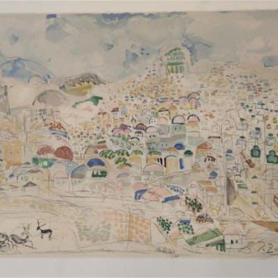 Joseph Zaritsky 1891-1985 (Israeli) Jerusalem lithograph