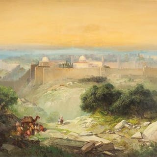 Andrew Melrose 1836-1901 (American) The Temple Mount, Jerusalem oil