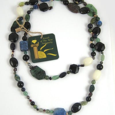 ROPE LENGTH GEMSTONE AND YELLOW GOLD BEAD NECKLACE