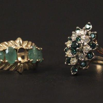 2 Green Gemstone Rings - Size 6