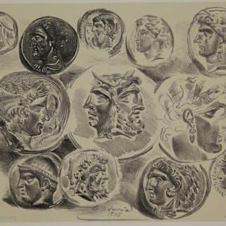 Eugène Delacroix. Studies of 12 Greek Coins. 1825.