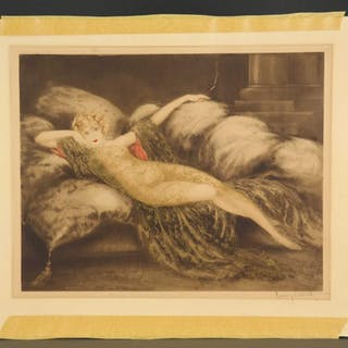 Louis Icart. Meditation (Golden Veil). 1930.