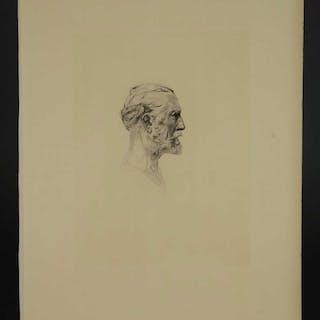 Auguste Rodin. Etching. Antonin Proust. 1897.