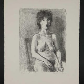 Raphael Soyer. Lithograph. Seated Nude. c.1970.