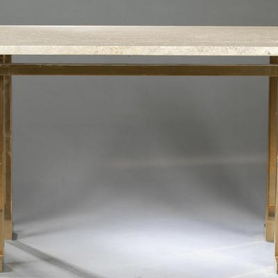 Modern marble-top brass console table.