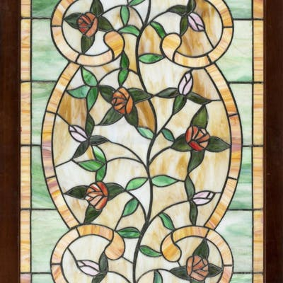 Frame stained glass panel.
