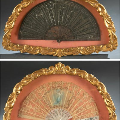 2 Gilt shadow boxed fans, 19th century.