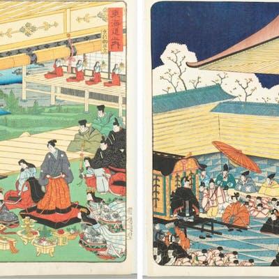 2 Japanese woodblock prints, Utagawa Yoshimori.