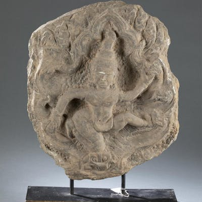 South East Asian stone fragment of an Apsara.