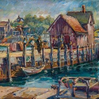 MAX KUEHNE, American (1880-1968), Pier, Rockport, Massachuse