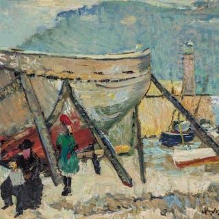 RICHARD HAYLEY LEVER, American (1876-1958), Dry Dock Cornwal