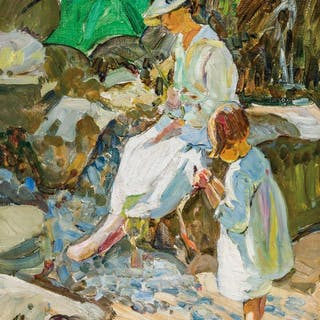 DOROTHEA SHARP, British (1874-1955), At the Beach, oil on ca