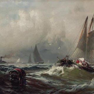 "FRANKLIN D. BRISCOE, American (1844-1903), ""Breezy Day New Y"