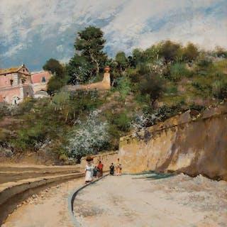 ATTILIO PRATELLA, Italian (1856-1949), A Walk Along the Prom