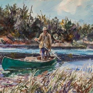JOHN WHORF, American (1903-1959), Poling Quiet Waters, water