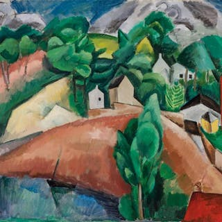 HENRI HAYDEN, French (1883-1970), Village Scene, oil on canv