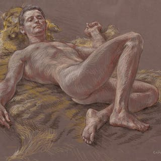 PAUL CADMUS, American (1904-1999), Jimmy Reclining on Tiger