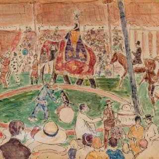 GIFFORD BEAL, American (1879-1956), Circus, watercolor on pa