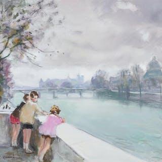 JULES RENE HERVE, French (1887-1981), Enfants sur la Seine