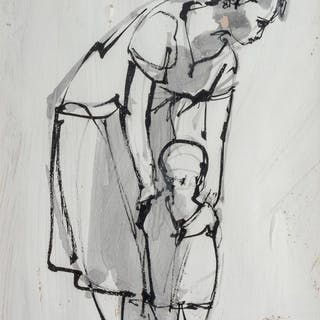 RUTH SCHLOSS, (Israeli/German, 1922-2013), Mother and Child